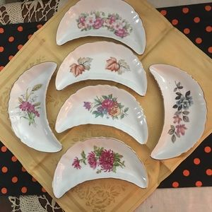 VINTAGE CHADWICK FLORAL CRESCENT BONE DISHES (6)